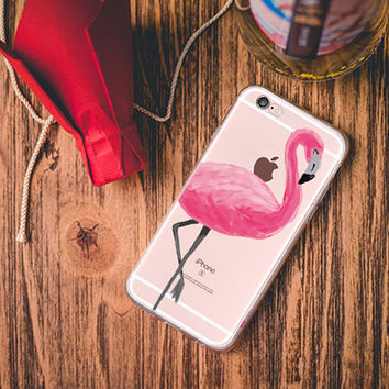 Tropical Pink Flamingo clear iPhone case
