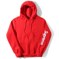 Supreme Fashion Casual Print Women Men Long Sleeve Hoodies Sweater Red