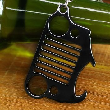 Fashion stainless steel Beer bottle Opener car KeyChain for Jeep key rings Bottles Wrangler Accessories Enthusiasts Silver/Gold