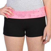 sequin drip fold over yoga short