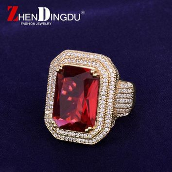Red Gem Iced Men's Ring Copper Charm Gold Silver Color Cubic Zircon Bling Bling RING Fashion Hip Hop Jewelry
