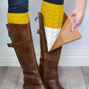 Mustard Yellow and Ivory Reversible Knitted Boot Cuffs