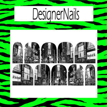 Town Square black and white Nail Decal