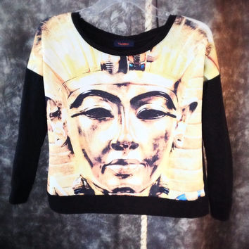 Cleopatra graphic print top / Egyptian goddess photo realism / graphic fleece sweatshirt / Halloween costume