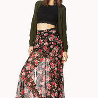 FOREVER 21 Floral Fantasy Midi Skirt Black/Rose