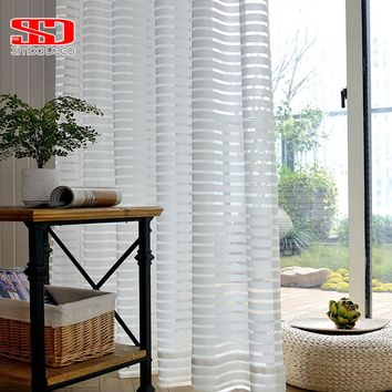 Modern Striped Window Tulle Curtains