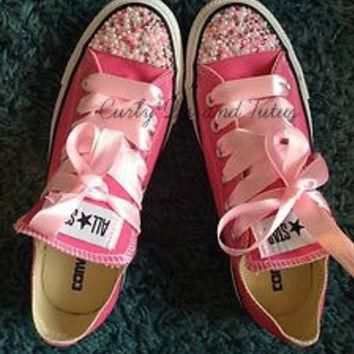 """Adult """" Pearl Bling"""" converse in your choice of color & ribbon shoelace to match. Supe"""
