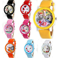 NEW Womens Girls Wrist Watches Analog Quartz Delicate Polymer Leather Cute Dial = 1932775556