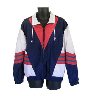 Men Windbreaker Jacket 80s 90s Nylon from SecondHandObsession on