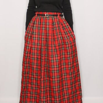 Red plaid skirt Tartan skirt Women maxi skirt High waisted maxi skirt with pockets