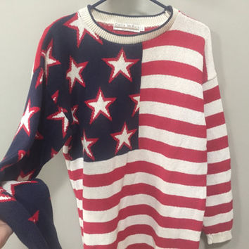 American Flag Sweater, Vintage 80s Americana Patriotic Sweater 1980s Stars Stripes Red White Blue July 4th Sweater Memorial Day Delia McKain