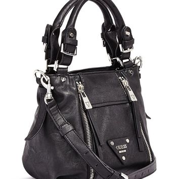 Presley Small Zipper Satchel | GUESS.com
