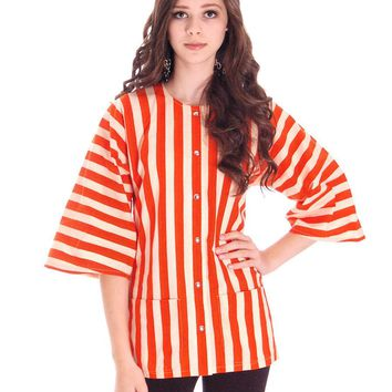 Vintage 1970s Vuokko Finland Womens Striped Coat Top Orange & White 36/6 100% Cotton