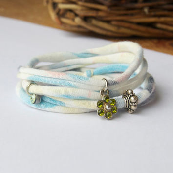 Eco friendly pastel wrap bracelet - Fabric charm bracelet made from a t shirt - Flower charm and silver bead - Stacking bracelet