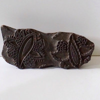 Paisely Textile Stamp from India // Vintage // Hand Carved