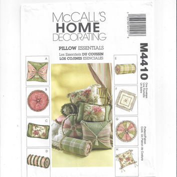 McCall's 4410 Pattern for Pillow Essentials in 8 Styles, Home Decorating, FACTORY FOLDED & UNCUT, from 2004, Home Sewing Pattern, Home Decor