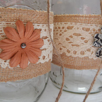 Rustic Wedding Decor - Wedding Centerpiece - Burlap Wedding Decor - Mason Jar Centerpiece