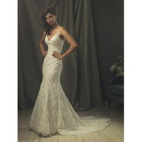 Cheap Mermaid Lace Wedding Dress Spaghetti Straps V-Neck Floor Length - Cheap Wedding Dresses