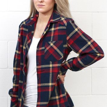 Out of the Woods Elbow Patch Plaid Flannel {Navy Mix}
