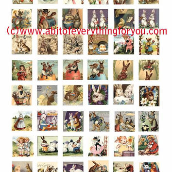 easter bunny rabbit baby chicks clip art collage sheet 1 inch squares graphics vintage postcard images digital download craft printables