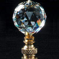 0-003493>Faceted Champagne Crystal Ball Finial Polished Brass