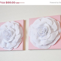 "MOTHERS DAY SALE Two Wall Hangings -White Roses on Light Pink 12 x12"" Canvases Wall Art- Baby Nursery Wall Decor-"