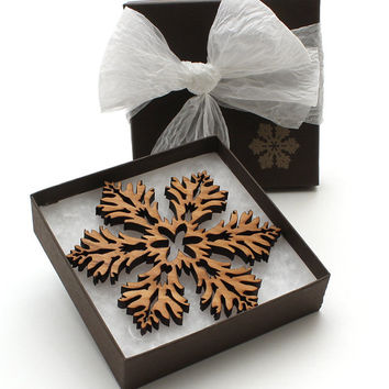 Wood Christmas Decoration Black Cherry Laser Cut Snowflake Ornament