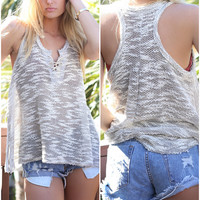 Cloudy Grey Popcorn Knit Lace Up Tank