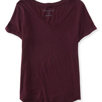 Solid V-Neck Cuffed Tee