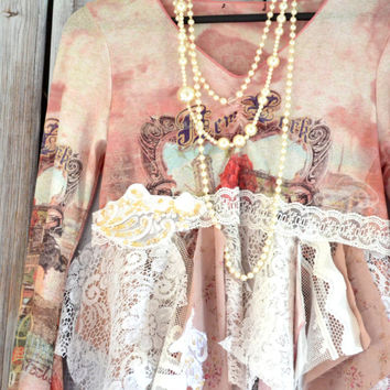 Bohemian top, Boho chic shirts, Romantic shabby cottage chic fall crop top, pink blush fringe shirt, Sexy french lace, True rebel clothing