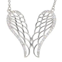 White Gold Plated Angel Wings Pendant Necklace