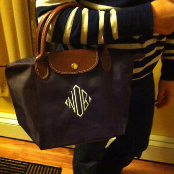 Small Monogram Tote Bag - Longchamp inspired - Makes a great bridesmaid gift, bridal party gift