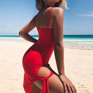 Summer Newest Fashionable Women Sexy Strapless Pure Color Sling Dress Red