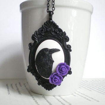 Black Raven Necklace. Edgar Allan Poe. Purple Roses. Gothic Wedding. Halloween Costume Accessory.