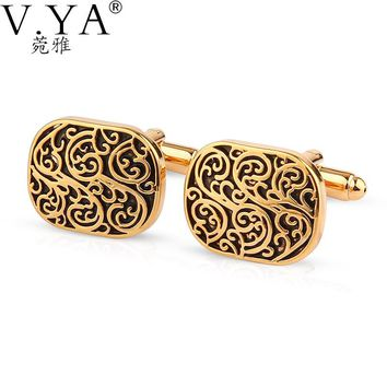 Luxury Gold Color CuffLinks for Shirts Cuff links Exquisite Button High Quality Copper 1 Pair New Fashion Cuff-links XK23