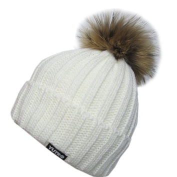 YUTRO Fashion Women's Fashionable Wool Winter Hat With Trendy Fox Pom One Size OFF-WHITE