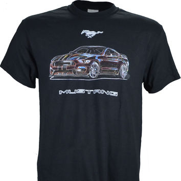 Our Ford Mustang Original Neo Series Design on a Black T Shirt
