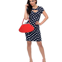 1940s Style Navy & White Dotted Keyhole Catch Me If You Can Wiggle Dress