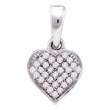 10kt White Gold Womens Round Diamond Small Dainty Heart Love Pendant 1-10 Cttw - FREE Shipping (US/CAN)