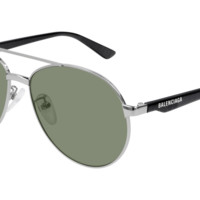 Balenciaga - BB0019SK Silver Grey Sunglasses / Green Lenses