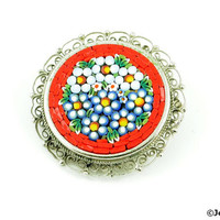 Micro Mosaic Brooch Pin Signed Italy 50s Red White Blue Green Yellow