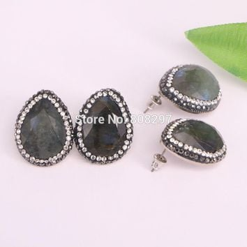 5Pairs Fashion Faceted Labradorite Stone Stud Earrings,with Crystal Rhinestone Paved Charm Gem stones Earrings