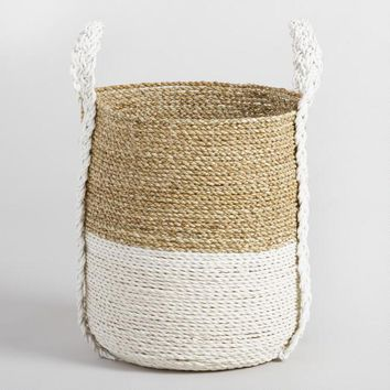 Medium Two Tone Seagrass Bianca Tote Basket