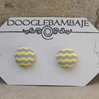 Yellow Grey Wave Party Design- Bright Yellow and Grey Gray Wave Wavy Chevron Fabric Button Earrings Stud Post- Wedding