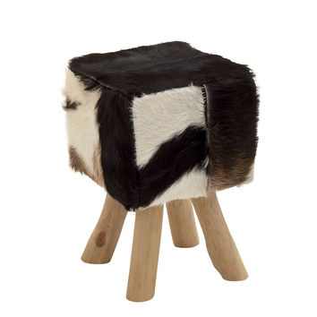 Timeless Wood Square Black Goat Foot Stool