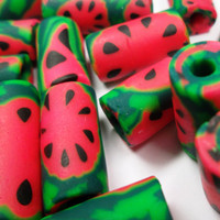 Handmade Polymer Clay Watermelon Fruit Tube Beads Set of 20