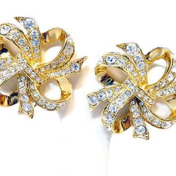 KJL Bow Earrings - Clear Rhinestone Clip on Earrings by Kenneth Jay Lane for Avon