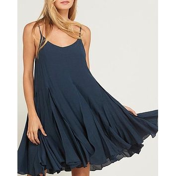 coming up for air - flowy dress - midnight navy