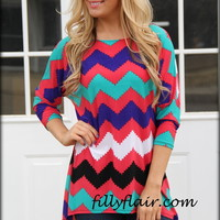 Color my Soul Chevron tunic in BLUE - Filly Flair