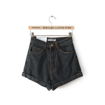 Women's Fashion High Rise Simple Design Denim Shorts [4919609988]